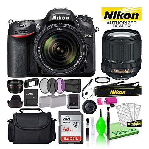 Nikon D7200 24.2MP DSLR Digital Camera with 18-140mm VR Lens (1555) USA Model Deluxe Bundle -Includes- Sandisk 64GB SD Card + Nikon Gadget Bag + Filter Kit + Spare Battery + Telephoto Lens + More