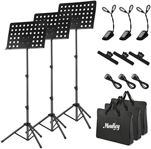 3 Pack Moukey Sheet Music Stand 19 6 X 13 2 MMS 2 Portable Travel Metal Adjustable Music Stand product image