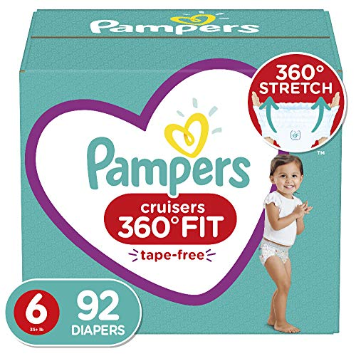 Diapers Size 6, 92 Count - Pampers Pull On Cruisers 360° Fit Disposable Baby Diapers with Stretchy Waistband, ONE MONTH SUPPLY (Packaging May Vary)
