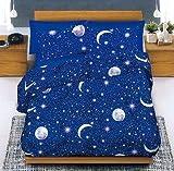Smartsupershop Tagesdecke Sommer Single Mond und Sterne + 1Kissenhülle GRATIS aus Baumwolle Jacquard Piquet Made in Italy–Geschenkidee unverlierbaren Angebot.