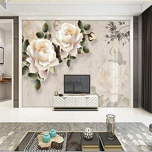 Fotobehang muurschilderingen op maat woonkamer nachtkastje achtergrond klassieke elegante witte Rose foto behang voor muren 3 D Papel Pintado 200 * 140cm