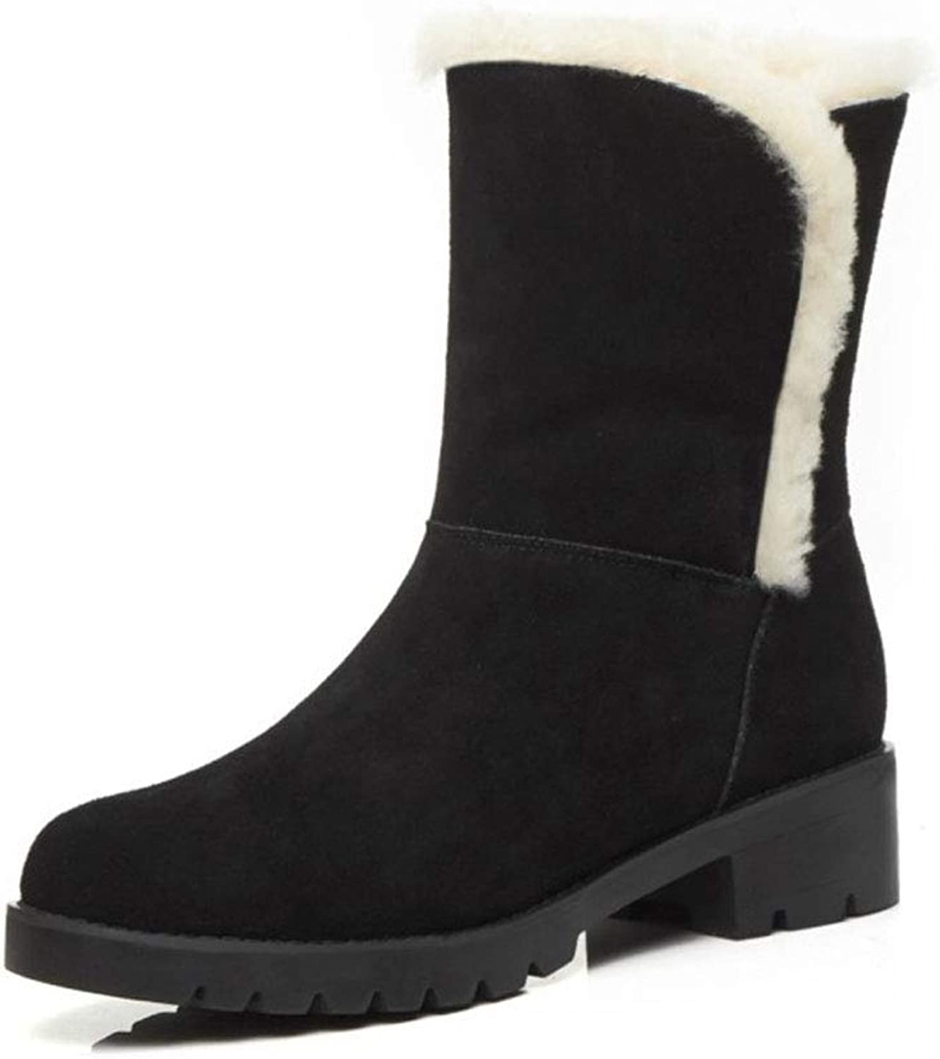 Women's Snow Boots Winter Suede Platform Boots Ladies Boots Warm Cotton shoes Outdoor High-top Casual shoes Comfort Loafers (color   Black, Size   37)