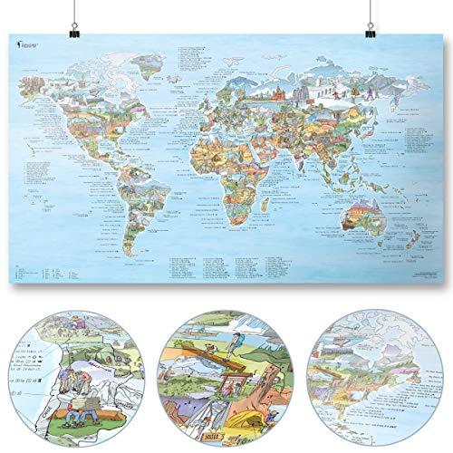 Wander Weltkarte (Hiking Map) von Awesome Maps - Illustrierte Karte für Wanderer und Entdecker - Wiederbeschreibbar - 97,5 x 56 cm [International Edition]