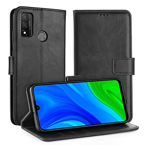 Simpeak Hülle Kompatibel mit Huawei P Smart 2020 [6,21 Zoll], Handyhülle Kompatibel für Huawei P Smart 2020 Leder Flipcase [Kartensteckplätze] [Stand Feature] [Magnetic Closure Snap] - Schwarz