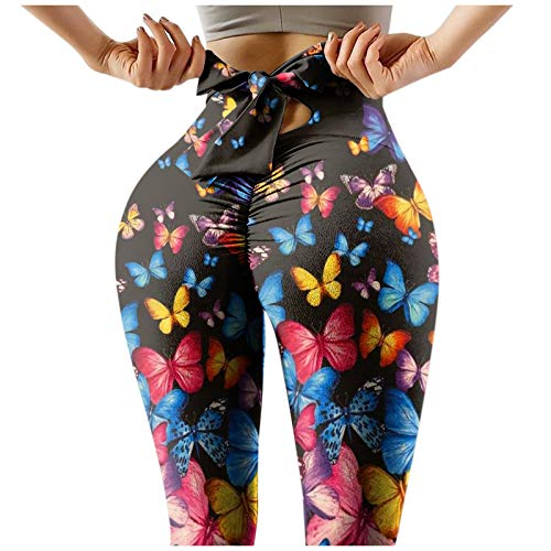 Liably Frauen High Waist Stretch Stretchy Fitness Leggings Yoga Hosen, Mode Multicolor Printing Sport Laufen Training Anti-Cellulite Compression Skinny