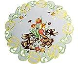 Espamira Tischdecke Weiß Ostern Osterhase Gestickt Tulpen Osterdecke Ostertischdecke (40 cm rund)