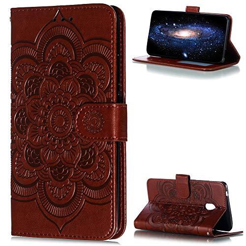 ZCXG Custodia per Nokia 2.1 Cover Libro Custodia Portafoglio Donna Fiore Slim Custodia Silicone Cover Interno Magnetica Antiurto Custodia per Nokia 2.1 Flip Cover Marrone
