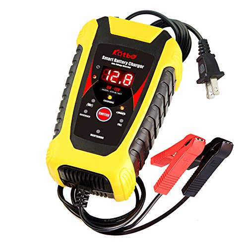 KATBO 6Amp Automatic Battery Charger 6V 12V Auto-Voltage Detection Lead Acid Battery Float Charger Maintainer With LCD Display For Motorcycle Car Boat Marine Lawn mower Atv Toy Car (Yellow)