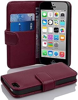 21615b08880 Cadorabo Apple iPhone 5C Funda de Cuero Sintético Estructura en Burdeos  Violeta Cubierta Protectora Estilo Libro