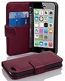 Cadorabo Hülle für Apple iPhone 5C - Hülle in Bordeaux LILA – Handyhülle mit Kartenfach aus struktriertem Kunstleder - Case Cover Schutzhülle Etui Tasche Book Klapp Style