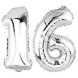 DekoRex® 16 als Folienballon Luftballon Zahlenballon Jahrestag Geburtstag in Silber 80cm hoch