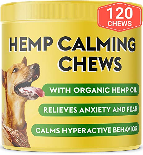 Pawfectchow Hemp Calming Treats for Dogs – Made in USA – Hemp Oil – Dog Anxiety Relief – Aids Stress Barking Separation Fireworks & Thunder – Aggressive Behavior – 120 Soft Chews