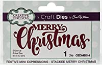 Creative Expressions Festive Craft Dies By Sue Wilson-Mini Expressions-Stacked Merry Christmas