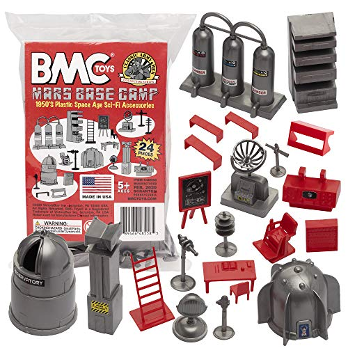 BMC Classic SciFi Mars Base Camp - 24pc Plastic Army Men Space Accessory Playset