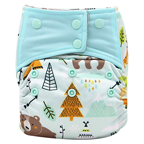 AIO Reusable Washable Cloth Diaper Nappy Charcoal Bamboo Insert Overnight (A36)