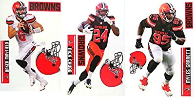 """FATHEAD Cleveland Browns Collection 3 Players + Browns Logo Sets Official NFL Vinyl Wall Graphics - Each Player Graphic 17"""" INCH - Mayfield, Chubb, Garrett"""
