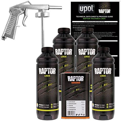 U-POL Raptor Tintable Urethane Spray-On Truck Bed Liner Kit with Spray Gun, 4 Liters