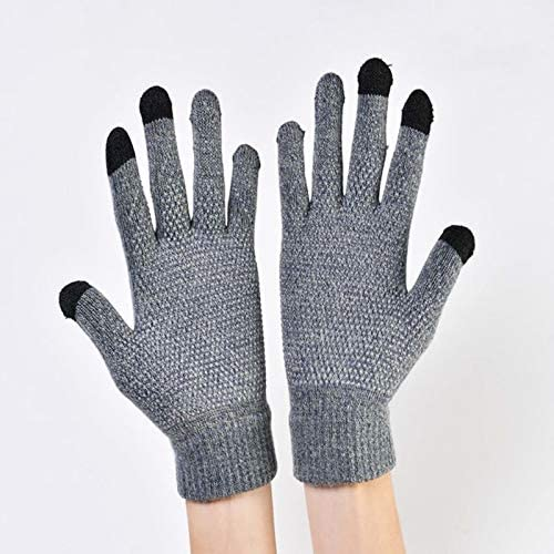 LOLIRYZ Knitted Gloves Autumn Winter Touch Screen Women Men Plush Thin Solid Warm Mittens Velvet Female Gloves - (Color: 4, Gloves Size: Free Size)