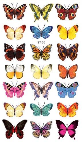 Supperb Temporary Tattoos - Butterflies (21 Butterflies)
