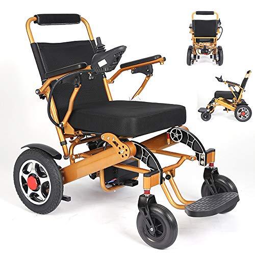 Dapang Elektrische Rollstuhl Falten, Power Compact Mobility Hilfe Motorisierte Power Chairs, persönliche Mobilität Scooter Rollstuhl mit leistungsstarken Dual Motor, FDA zugelassen,Yellow