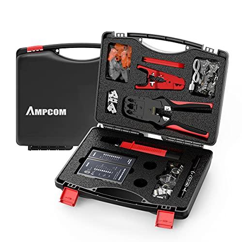 AMPCOM LANケーブル自作工具キット、12点工具セット、圧着ペンチ、ケーブルテスター、プチダウン工具、外皮むき工具、モジュラープラグ、収納ケース付き