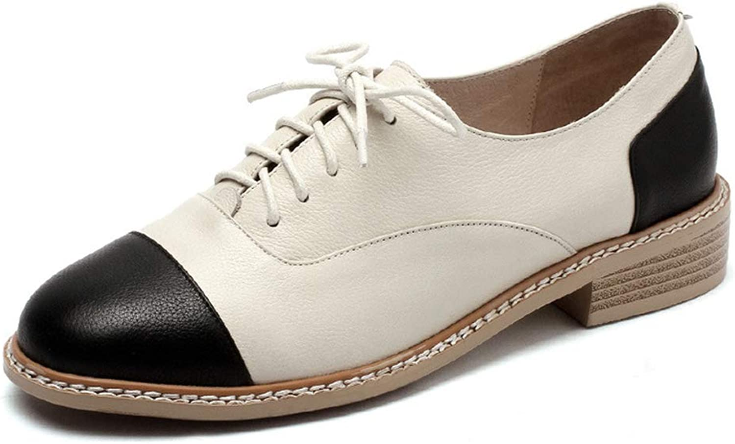 Women's shoes Spring Fall Lace-Up Small Leather shoes Bullock shoes Vintage Ladies shoes Low-Top Casual shoes,White,40