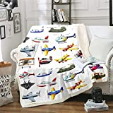 Aircraft Sherpa Blanket, 3D Print Various Airplane Blanket Throw for Kids Teen Boys, Fighter Flight Helicopter Fleece Blanket, Cartoon Aviation Theme Fuzzy Blanket Ultra Soft Twin 60'x80' White