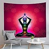 WERT Buddha arazzo bohemien parete appeso tappeto tessuto yoga tappeto dormire coperta decorazione casa arazzo sfondo panno A21 73x95 cm