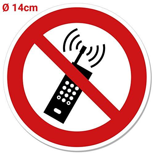 Aufkleber Mobilfunk/Handy verboten, Ø 14 cm Schild, Telefonieren verboten, Handyverbot, Mobiltelfone Verbotsaufkleber, ISO 7010