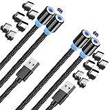 Raptor Bros - Cable de carga magnético USB para teléfonos Android, Samsung o iProducts Super Fast - Compatible con todos los micro USB, tipo C e iProducts [2 unidades de 2 pies y 7 pies]