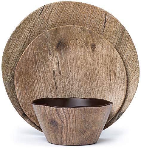 Melamine Dinnerware Set - 12 pcs Melamine Plates Outdoor Plates Summer Plates and Bowls Sets Melamine Plates Ideal Camping Dish Set Dinnerware Set for 4 Dishwasher Safe (Wood Grain)