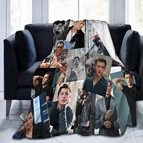 Tom Holland - Coperta confortevole e calda, morbida coperta in pile, reversibile, per bambini, ragazzi e ragazze (60 x 150 cm)
