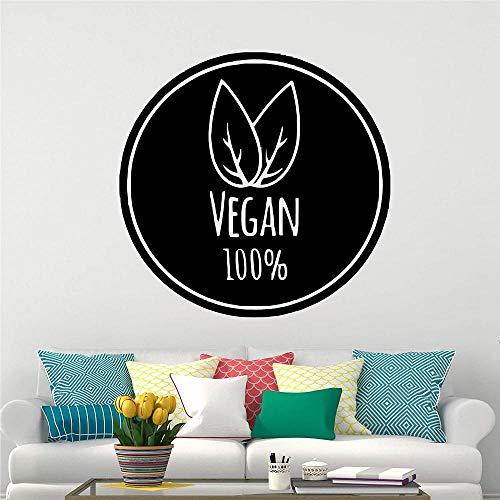Etiqueta de la pared vegetariana Etiqueta de vinilo Comida vegetariana Café Bebida Bar Restaurante Letrero para pared Ventana Puerta Decoración Artista Cocina Comedor Sala de estar 45X68CM