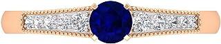 Anillo de zafiro azul de corte redondo de 4,00 mm, anillo de diamante HI-SI, anillo solitario con piedras laterales, anill...