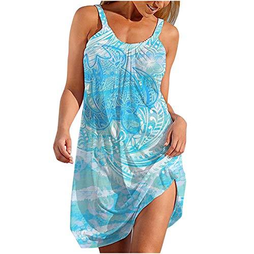 Kleid Frauen Sommer Boho Knielang Strandkleider Sexy Tunika Kleid Elegant Drucken Schöne Spagettiträger Schulterfrei Leicht Mini Sommerkleider Damene Lässig Strand ärmellos Blusenkleid