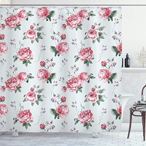 ABAKUHAUS Rose Duschvorhang, Rosa Blüten-Englisch Flora, Hochwertig mit 12 Haken Set Leicht zu pflegen Farbfest Wasser Bakterie Resistent, 175 x 200 cm, Reseda Green Pink