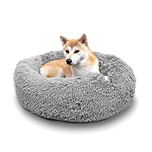JMHUND Shag Vegan Fur Donut Comfortable Dog Bed for Medium Dogs with Removable Cushion, Large Calming Cuddler Ultra Soft Washable Pet Cat Mat, Round Fluffy Self-Warming Cushion Bed,26″ Grey