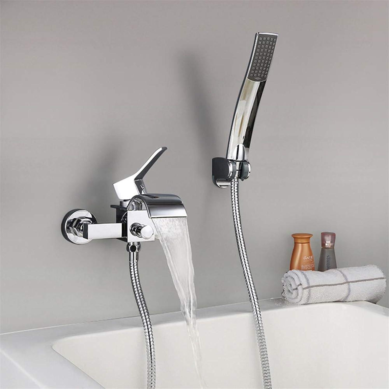 JIANGYE Wasserfall Bathroom Single Handle Shower Faucet Trim Valve Body Hand Shower Complete Kit Modern Wall montiert