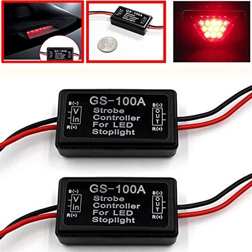 CHENTAOCS 1pc Controlador de Flash de luz de Freno Módulo GS-100A Flash estroboscópico módulo Controlador Intermitente for el Coche LED de luz de lámpara de Parada del Freno 12V