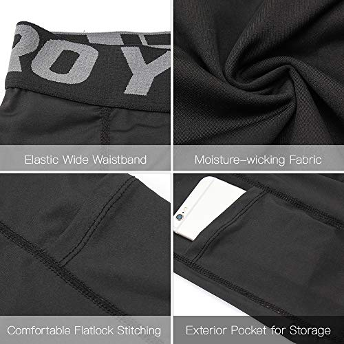 51tWvoht88L. SS500  - Lixada Men's Compression Shorts Pants Sports Baselayer Tights Active Workout Underwear Leggings with Pockets - - Large