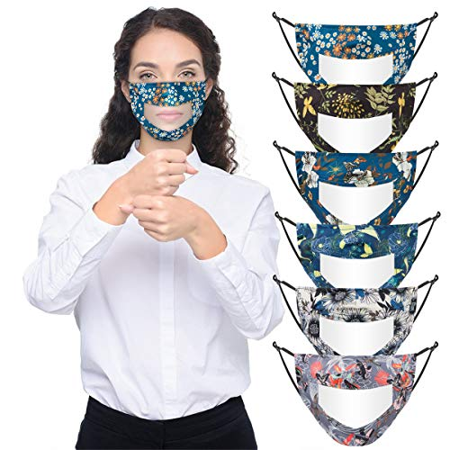 6pcs Printed Cotton Face Covering with Clear Window- Anti-dust Mouth Guard in 6 Styles Adjustable Unisex Mouth Face Shield Outdoor Facial Protection Visible Expression for The Deaf& Hard of Hearing