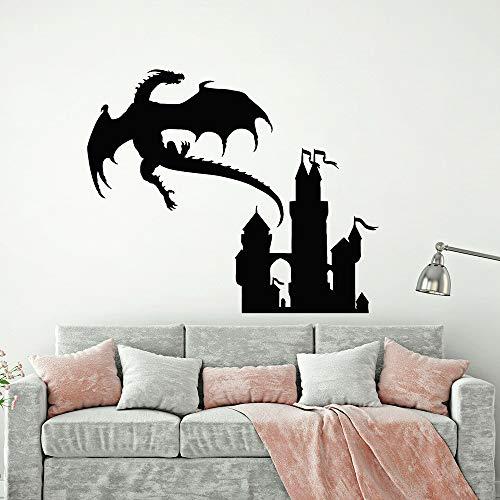 Flying Dragon Castle Wandaufkleber Spielzimmer Kinderzimmer Jungen Mädchen Schlafzimmer Club Home Dekoration Prinzessin Märchen Schloss Vinyl Wandtattoo Kunst Wandbild Poster