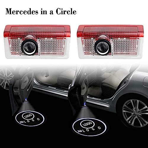 Mimitool Coche de Bienvenida a la luz Compatible con Mercedes. AMG W176 W246 W205 W212 W213 W166 A B C E ML GL GLS Logotipo de Clase de Clase Láser Proyecto Puerta Fantasma Lámpara de Bienvenida HD