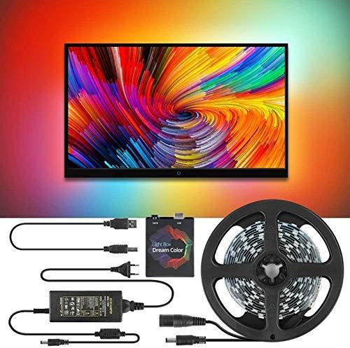 TV LED Hintergrundbeleuchtung, DIY TV PC Traumbildschirm USB LED Streifen HDTV Computer Monitor Backlight Adressierbar LED Strip Lights Dekoration (60LED/5M)