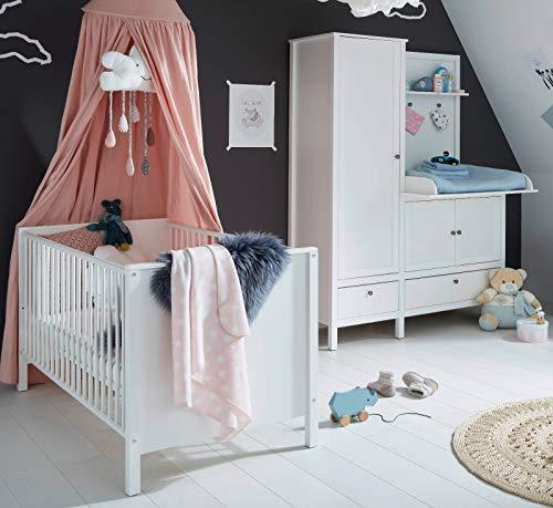 Babyzimmer Set 2-TLG. Ole in weiß Landhaus Babymöbel Kleiderschrank mit integrierter Wickelkommode und Babybett