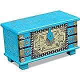 vidaXL Baule Cassapanca Cassa 80x40x45 cm Orientale Legno di Mango Blu