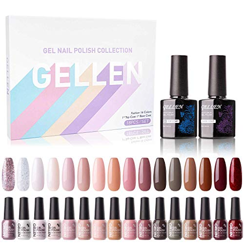 Gellen 16 Colors Gel Nail Polish Set With Top Base Coat - Pastel Pink Red Nudes Colors Collection, Trendy Solid Sparkle Glitters Nail Art Colors Home Gel Manicure Kit