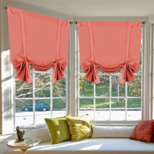 Blackout Energy Saving Thermal Insulated Tie Up Curtain for Small Window Home Fashion Window Treatment Solid Pattern Rod Pocket Panels for Kitchen, 2 Panels, Coral