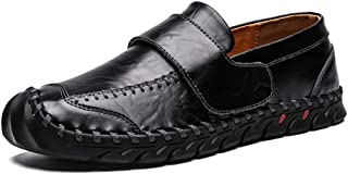 Men Slip On Loafers Leather Breathable Lightweight Pumps Shoes with Convenient Touch Fasten for Walking and Working