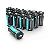 CR123A Lithium Battery RAVPower 3V Camera Batteries Non-Rechargeable 16 Pack 10 Years of Shelf Life for Arlo Cameras Polaroid Flashlight Microphones(1500mAh Each)